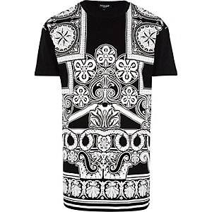 Black Jaded printed longer length t-shirt