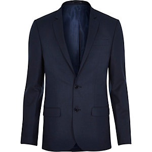Blue tailored skinny suit jacket