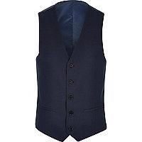 Blue tailored suit vest