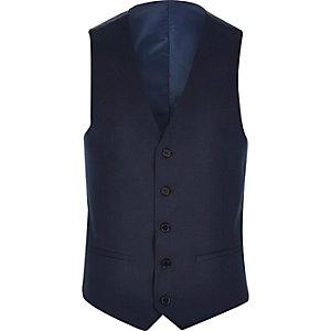 Blue tailored suit waistcoat