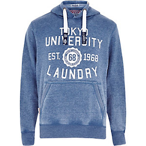 Blue Tokyo Laundry logo hoodie