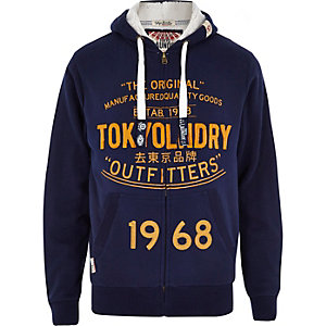Dark blue Tokyo Laundry zip through hoodie
