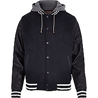 Navy Tokyo Laundry contrast bomber jacket