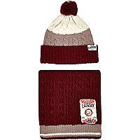 Dark red Tokyo Laundry beanie scarf gift set