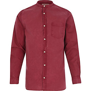 Red Oxford grandad shirt
