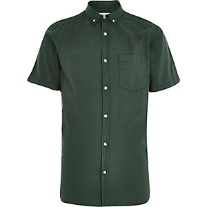 Green washed short sleeve Oxford shirt
