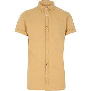 Yellow acid wash Oxford shirt