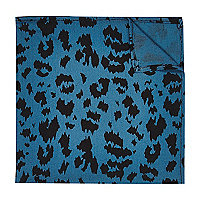 Green leopard print pocket square