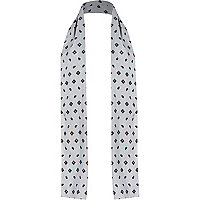 White paisley print formal scarf