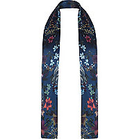 Navy floral print formal scarf