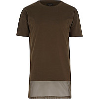 Green longer length mesh panel t-shirt