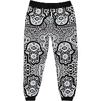 Black Jaded hamsa print joggers