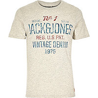 Ecru Jack & Jones Vintage slogan t-shirt