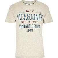 Ecru Jack & Jones Vintage slogan t-shirt