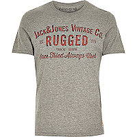 Grey Jack & Jones Vintage slogan t-shirt