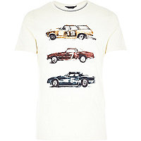 Ecru Jack & Jones Premium car print t-shirt
