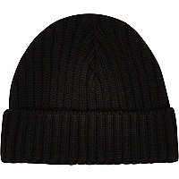 Black mini docker beanie hat