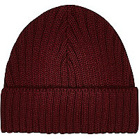Dark red mini docker beanie hat