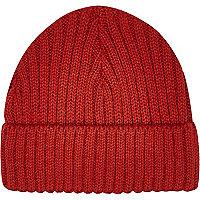 Red mini docker beanie hat
