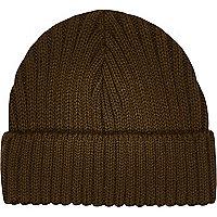 Green khaki mini docker beanie hat