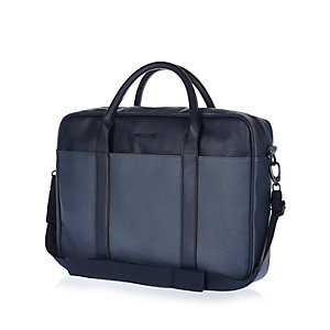 Navy blue smart leather-look work bag