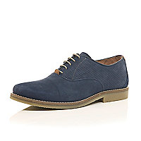 Blue nubuck perforated lace up shoes