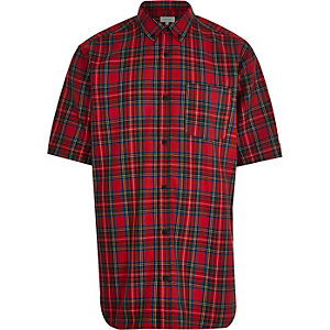 Red tartan oversized shirt