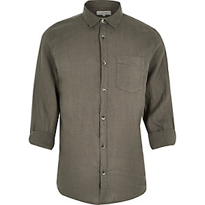Khaki green linen shirt