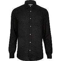 Black linen blend long sleeve shirt