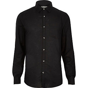 Black linen blend long sleeve shirt