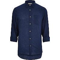Navy linen blend shirt