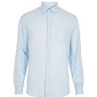 Blue linen blend long sleeve shirt