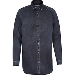 Dark wash denim zip side shirt