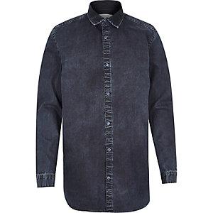 Dark wash denim zip side shirt