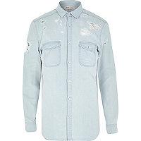 Bleached distressed denim shirt