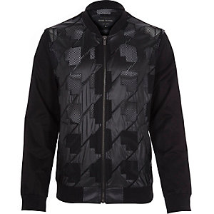 Black casual mesh detail bomber jacket