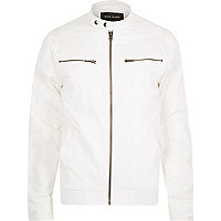 White casual bomber jacket