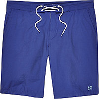 Navy blue plain drawstring board shorts