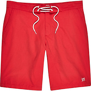 Red plain drawstring board shorts