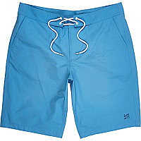 Blue plain drawstring board shorts