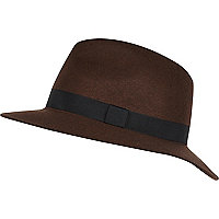 Brown grosgrain trim fedora hat