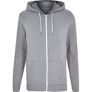 Grey marl cotton zip through hoodie