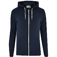 Navy cotton zip through hoodie