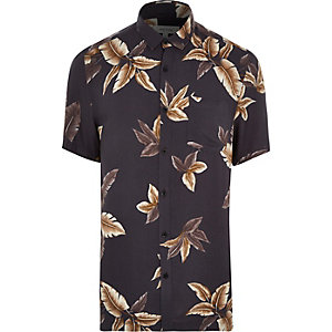 Grey leaf print short sleeve shirt
