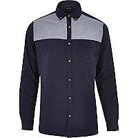 Navy chambray panel Oxford shirt
