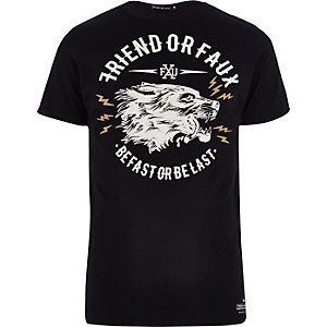 Black Friend or Faux graphic print t-shirt