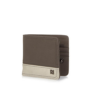 Grey putty colour block wallet