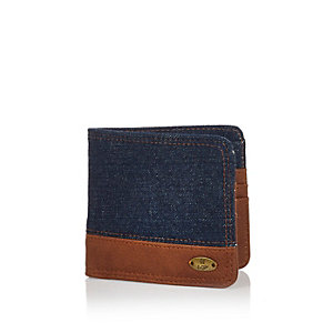 Navy denim block wallet