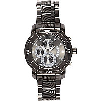 Gunmetal grey triple dial bracelet watch
