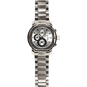 Silver tone triple dial bracelet watch